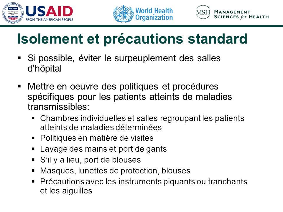 Isolement et précautions standard Si possible, éviter le surpeuplement des salles dhôpital Mettre en oeuvre des politiques et procédures spécifiques p