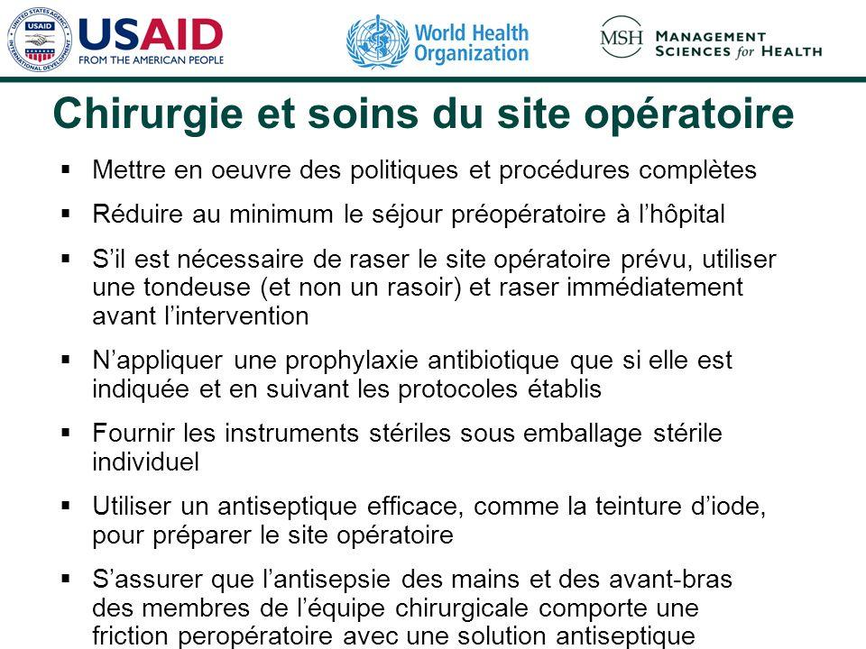 Chirurgie et soins du site opératoire Mettre en oeuvre des politiques et procédures complètes Réduire au minimum le séjour préopératoire à lhôpital Si