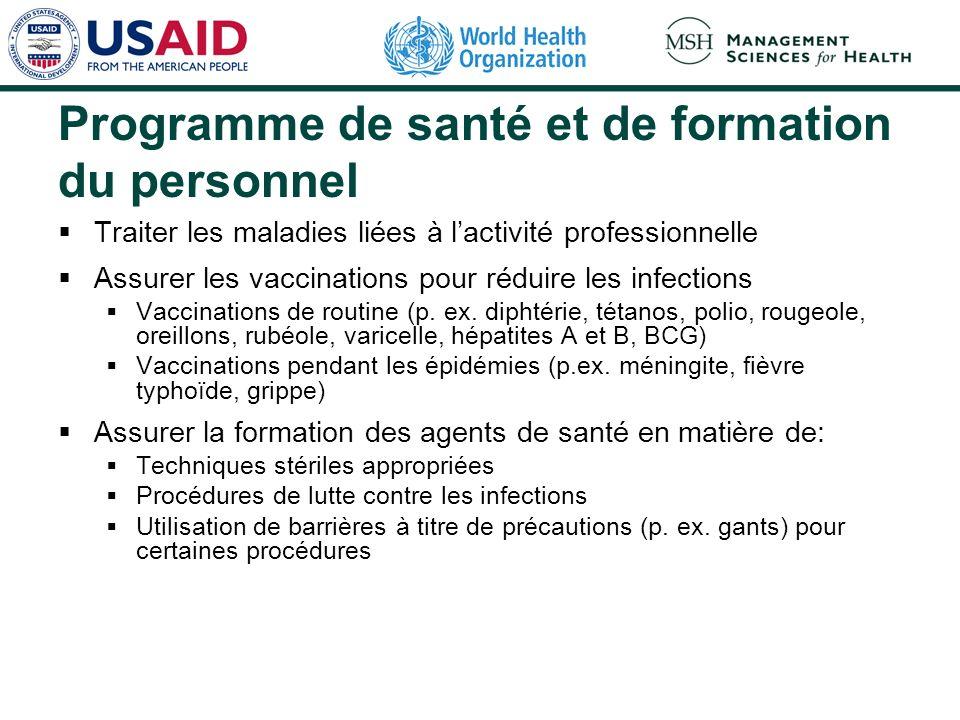 Programme de santé et de formation du personnel Traiter les maladies liées à lactivité professionnelle Assurer les vaccinations pour réduire les infec