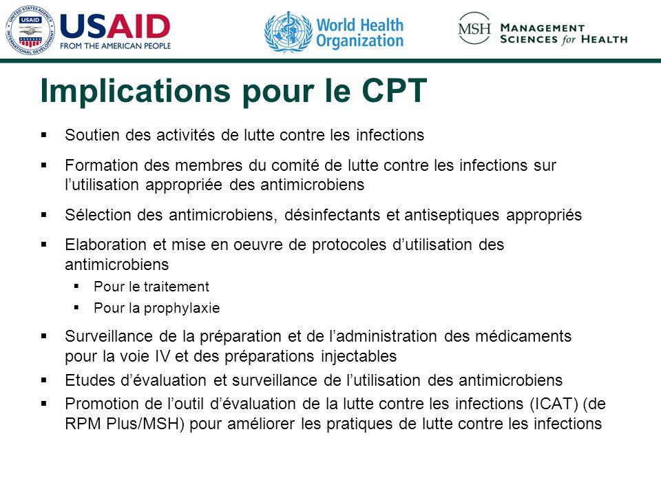Implications pour le CPT Soutien des activités de lutte contre les infections Formation des membres du comité de lutte contre les infections sur lutil
