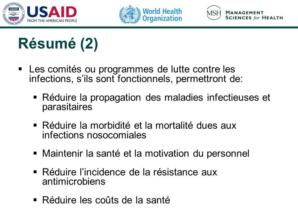 Résumé (2) Les comités ou programmes de lutte contre les infections, sils sont fonctionnels, permettront de: Réduire la propagation des maladies infec