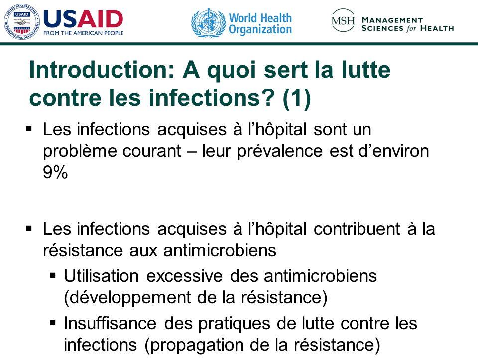 Introduction: A quoi sert la lutte contre les infections? (1) Les infections acquises à lhôpital sont un problème courant – leur prévalence est denvir