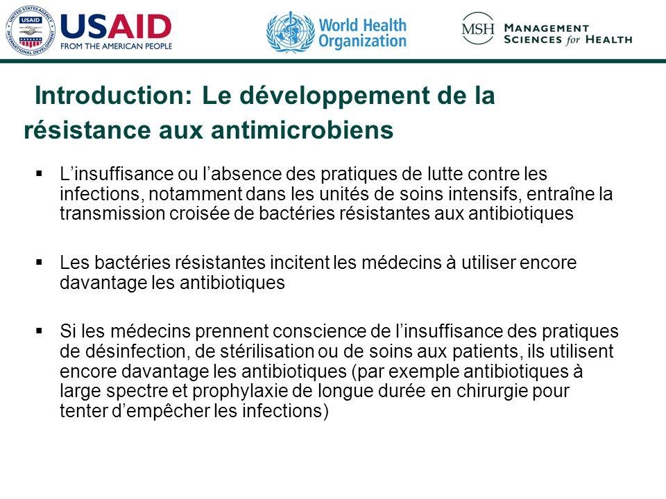 Introduction: Le développement de la résistance aux antimicrobiens Linsuffisance ou labsence des pratiques de lutte contre les infections, notamment d
