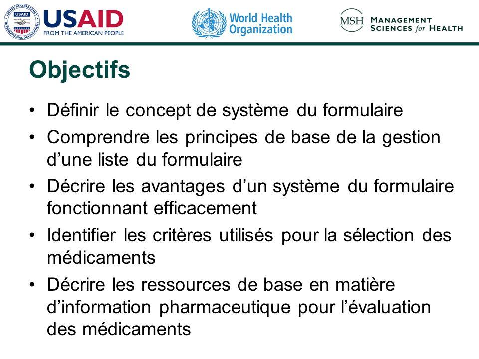 Points principaux (1) Introduction Principes de gestion dune liste du formulaire Tenue à jour dun système du formulaire Processus de sélection des nouveaux médicaments Critères de sélection des nouveaux médicaments Médicaments hors liste