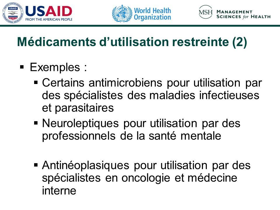 Médicaments dutilisation restreinte (2) Exemples : Certains antimicrobiens pour utilisation par des spécialistes des maladies infectieuses et parasitaires Neuroleptiques pour utilisation par des professionnels de la santé mentale Antinéoplasiques pour utilisation par des spécialistes en oncologie et médecine interne