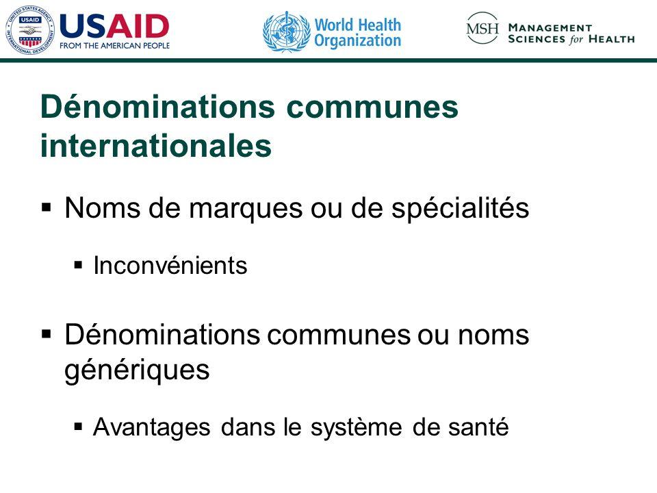 Dénominations communes internationales Noms de marques ou de spécialités Inconvénients Dénominations communes ou noms génériques Avantages dans le système de santé
