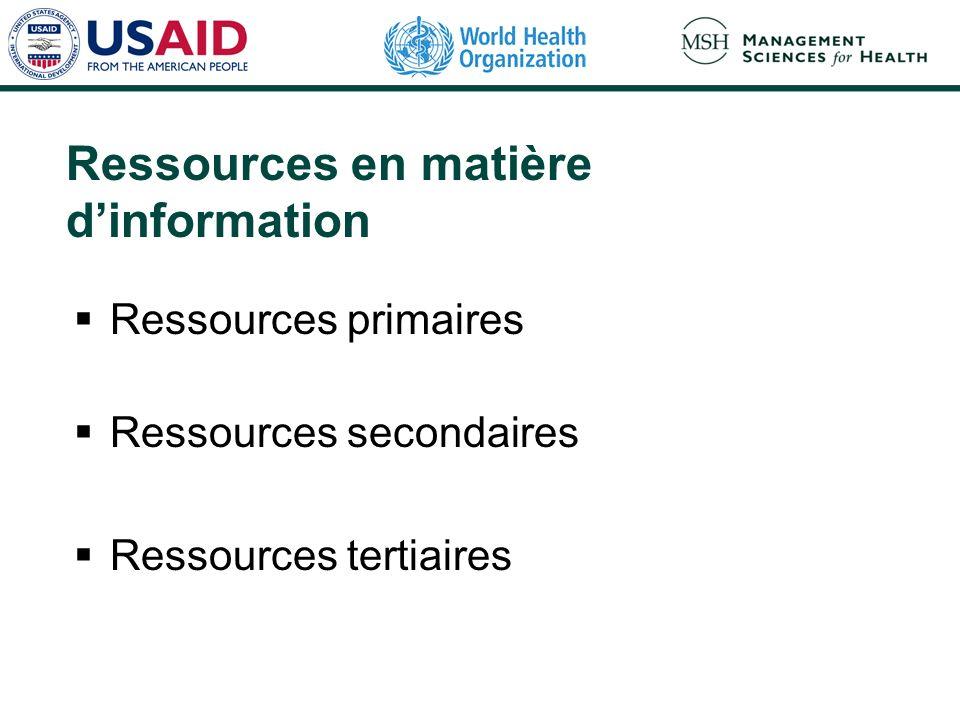 Ressources en matière dinformation Ressources primaires Ressources secondaires Ressources tertiaires