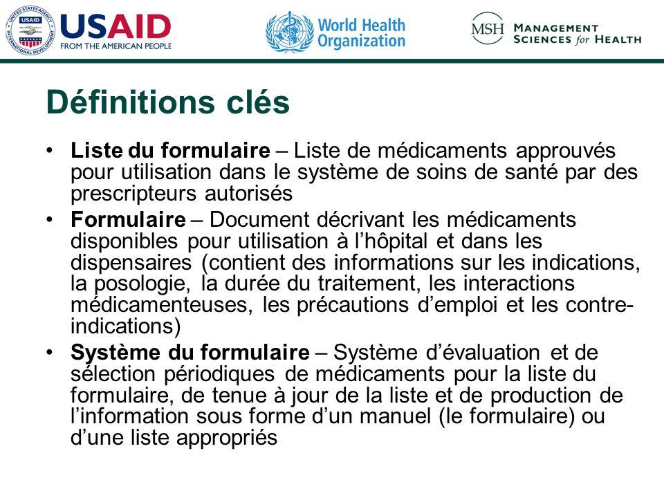 Critères dévaluation et de sélection des médicaments pour la liste du formulaire (1) Tableau de morbidité Efficacité Innocuité Qualité (produits pharmaceutiques et fournisseurs)