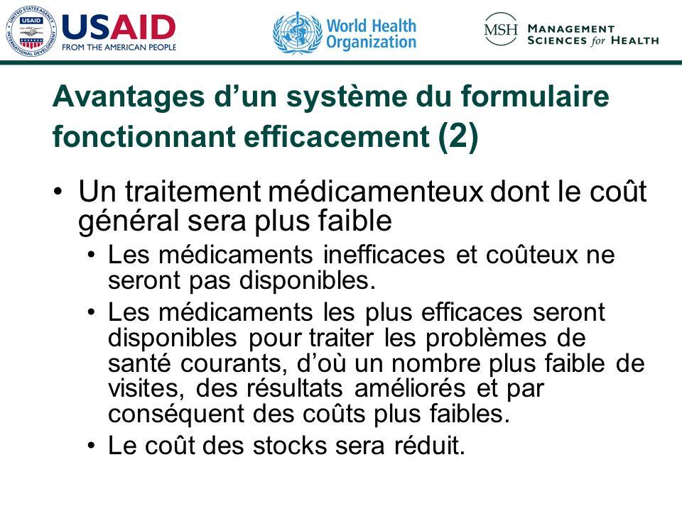 Avantages dun système du formulaire fonctionnant efficacement (2) Un traitement médicamenteux dont le coût général sera plus faible Les médicaments inefficaces et coûteux ne seront pas disponibles.