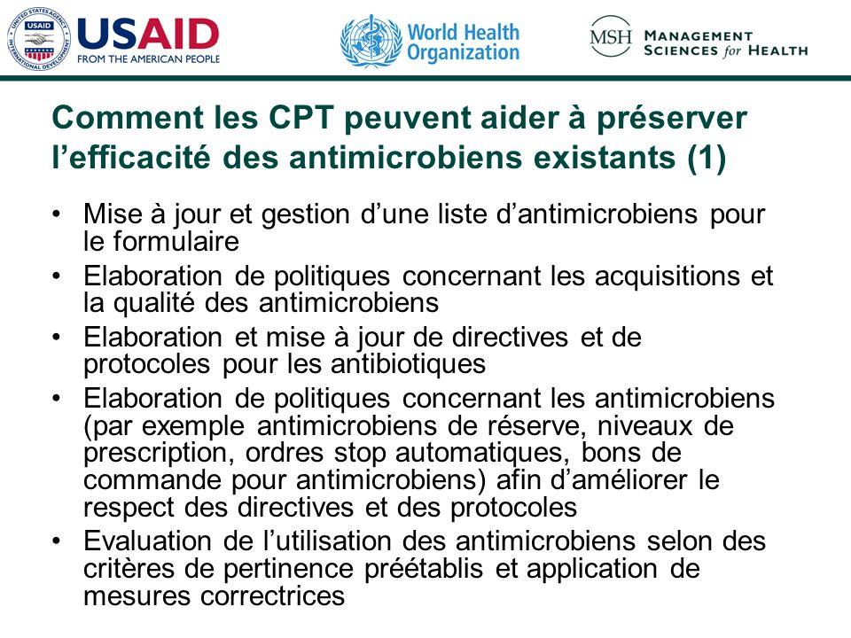 Comment les CPT peuvent aider à préserver lefficacité des antimicrobiens existants (1) Mise à jour et gestion dune liste dantimicrobiens pour le formu