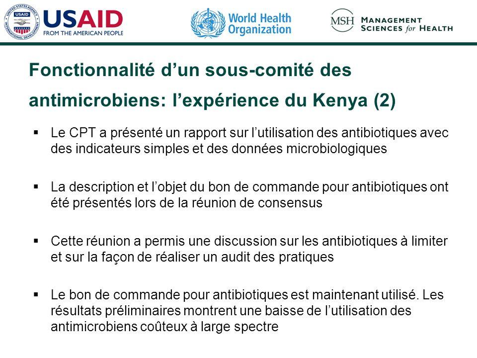 Le CPT a présenté un rapport sur lutilisation des antibiotiques avec des indicateurs simples et des données microbiologiques La description et lobjet