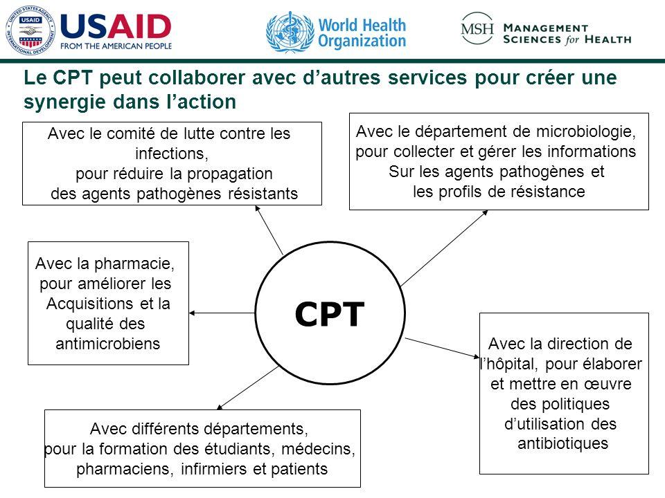 Le CPT peut collaborer avec dautres services pour créer une synergie dans laction Avec le comité de lutte contre les infections, pour réduire la propa