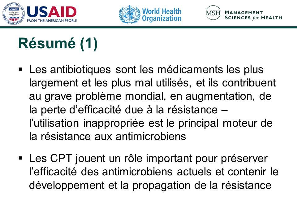 Résumé (1) Les antibiotiques sont les médicaments les plus largement et les plus mal utilisés, et ils contribuent au grave problème mondial, en augmen