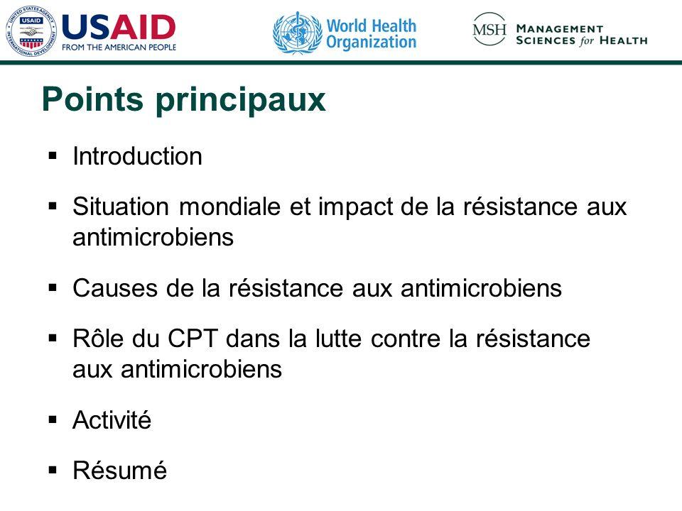 Points principaux Introduction Situation mondiale et impact de la résistance aux antimicrobiens Causes de la résistance aux antimicrobiens Rôle du CPT