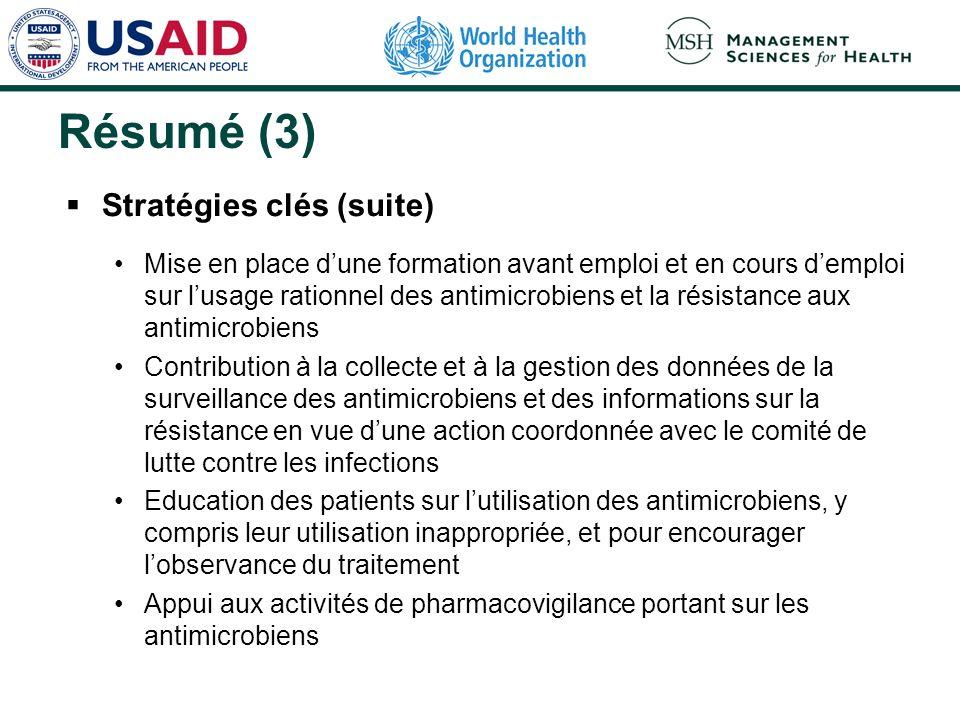 Résumé (3) Stratégies clés (suite) Mise en place dune formation avant emploi et en cours demploi sur lusage rationnel des antimicrobiens et la résista