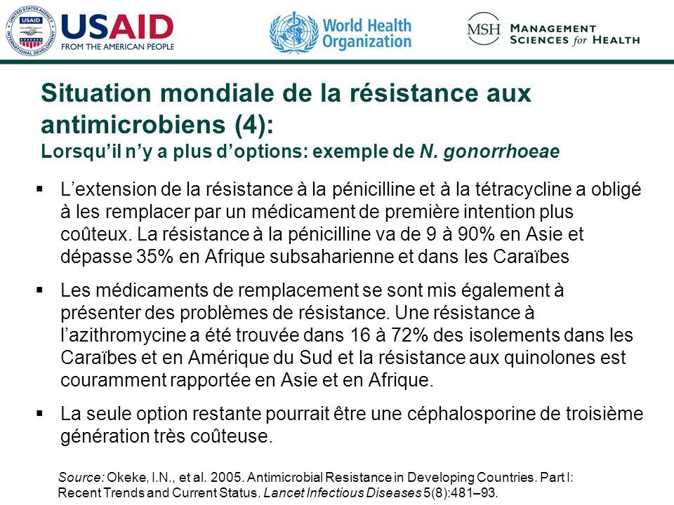 Situation mondiale de la résistance aux antimicrobiens (4): Lorsquil ny a plus doptions: exemple de N. gonorrhoeae Lextension de la résistance à la pé