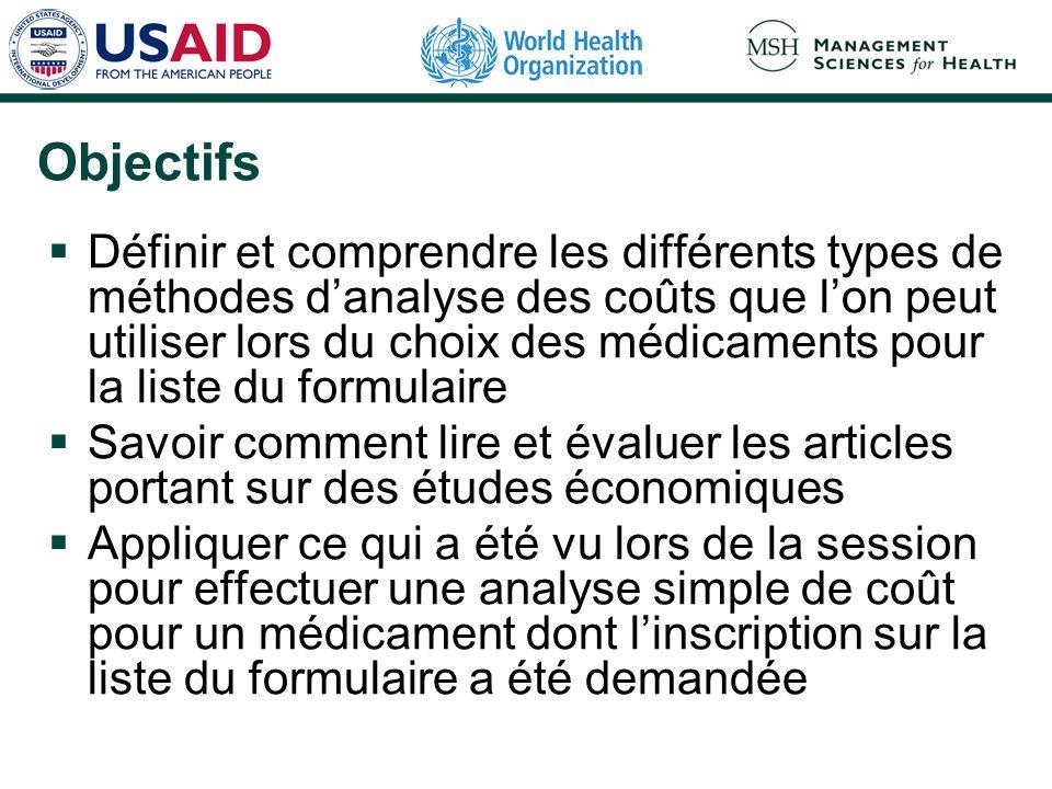 Analyse coût-efficacité: étapes Définir les objectifs : quelle posologie choisir pour obtenir le résultat clinique souhaité (p.