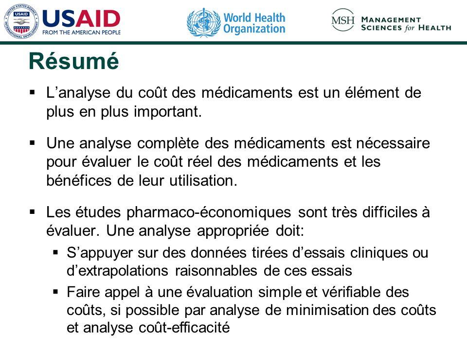 Résumé Lanalyse du coût des médicaments est un élément de plus en plus important.