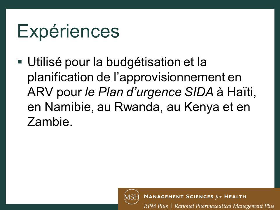 Expériences Utilisé pour la budgétisation et la planification de lapprovisionnement en ARV pour le Plan durgence SIDA à Haïti, en Namibie, au Rwanda,