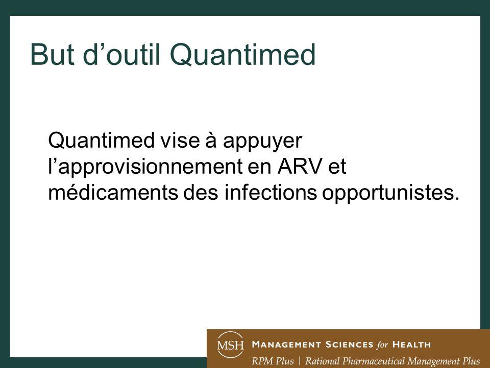 But doutil Quantimed Quantimed vise à appuyer lapprovisionnement en ARV et médicaments des infections opportunistes.