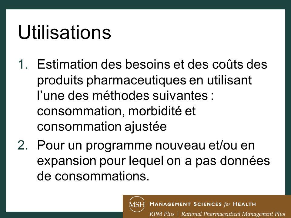 Utilisations 1.Estimation des besoins et des coûts des produits pharmaceutiques en utilisant lune des méthodes suivantes : consommation, morbidité et