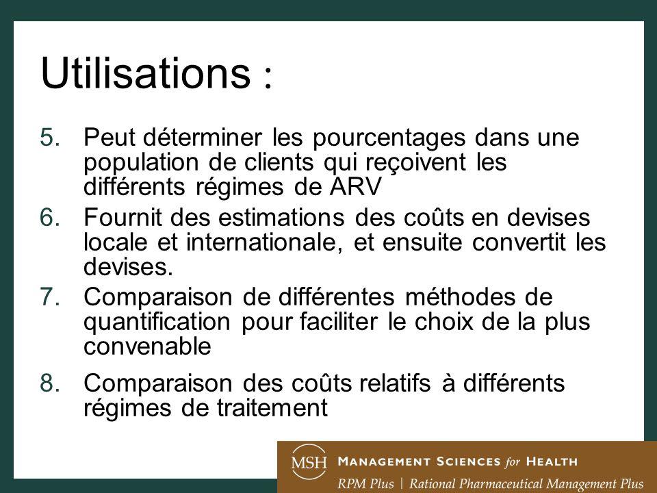 Utilisations : 5.Peut déterminer les pourcentages dans une population de clients qui reçoivent les différents régimes de ARV 6.Fournit des estimations