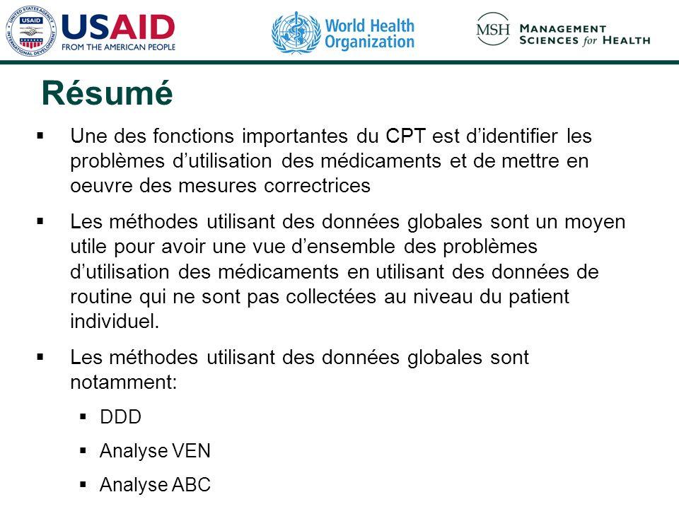 Résumé Une des fonctions importantes du CPT est didentifier les problèmes dutilisation des médicaments et de mettre en oeuvre des mesures correctrices