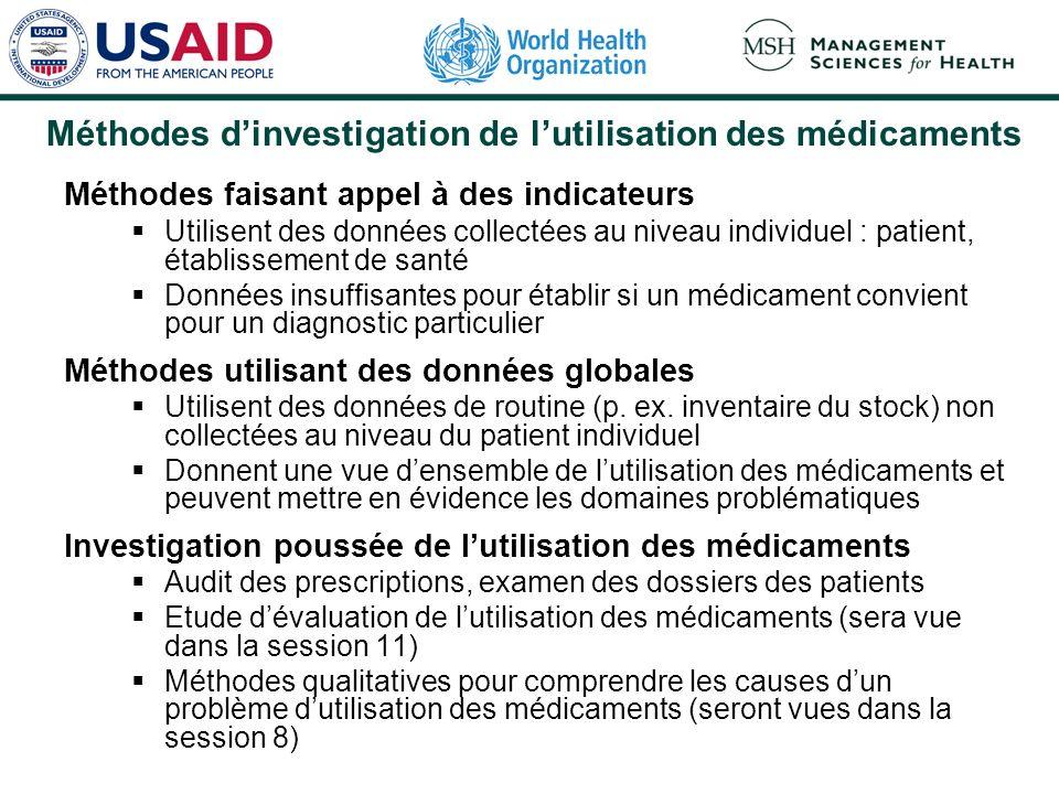 Méthodes dinvestigation de lutilisation des médicaments Méthodes faisant appel à des indicateurs Utilisent des données collectées au niveau individuel