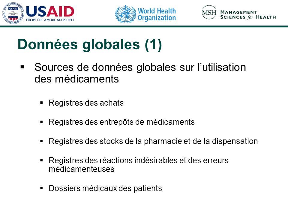Données globales (1) Sources de données globales sur lutilisation des médicaments Registres des achats Registres des entrepôts de médicaments Registre