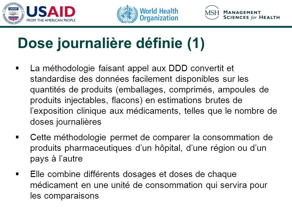 Dose journalière définie (1) La méthodologie faisant appel aux DDD convertit et standardise des données facilement disponibles sur les quantités de pr