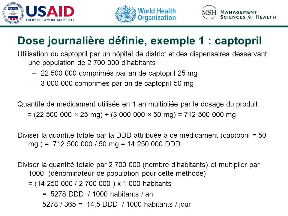 Dose journalière définie, exemple 1 : captopril Utilisation du captopril par un hôpital de district et des dispensaires desservant une population de 2