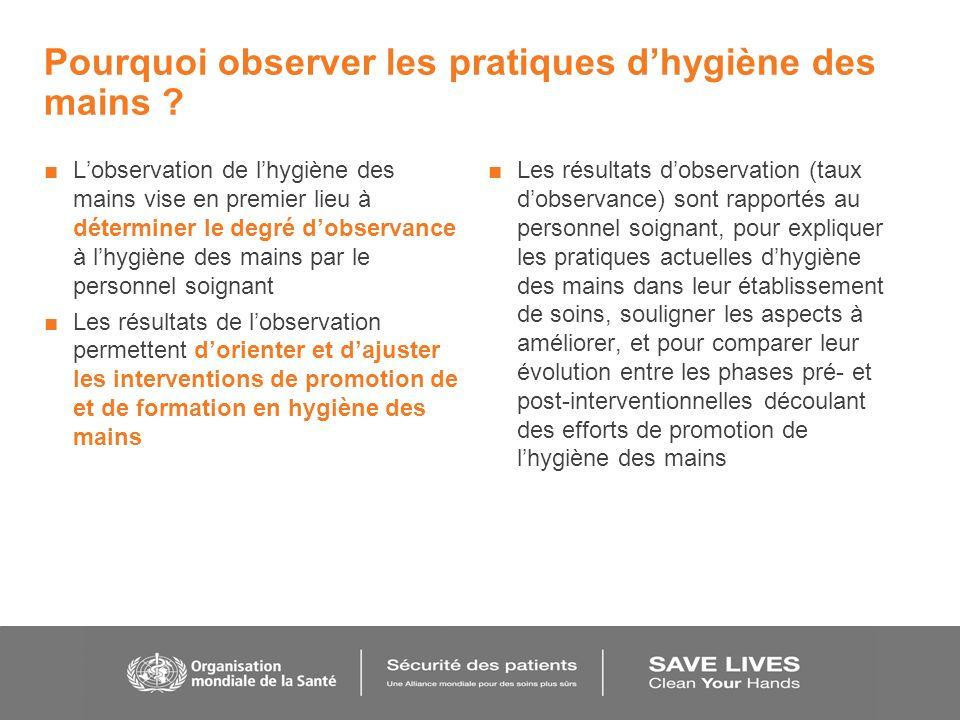 Pourquoi observer les pratiques dhygiène des mains ? Lobservation de lhygiène des mains vise en premier lieu à déterminer le degré dobservance à lhygi