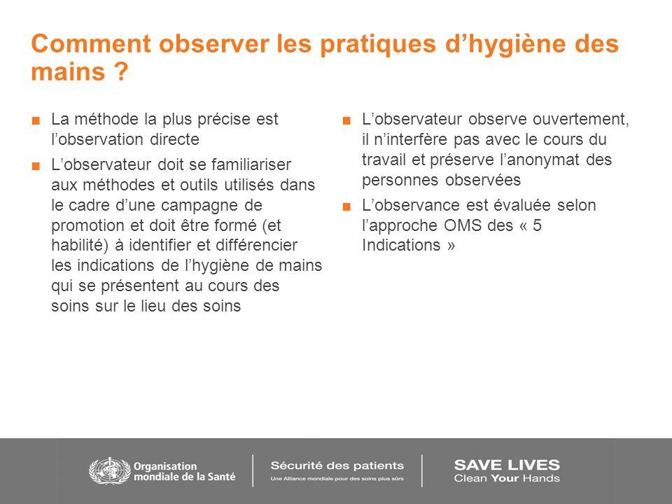 Comment observer les pratiques dhygiène des mains ? La méthode la plus précise est lobservation directe Lobservateur doit se familiariser aux méthodes