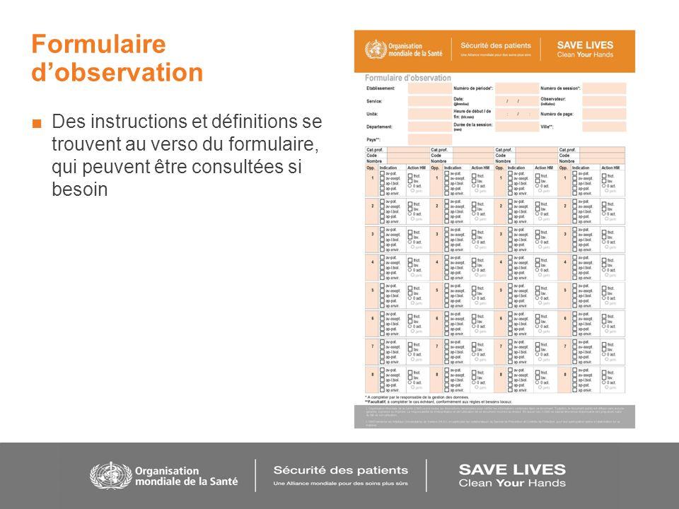 Formulaire dobservation Des instructions et définitions se trouvent au verso du formulaire, qui peuvent être consultées si besoin
