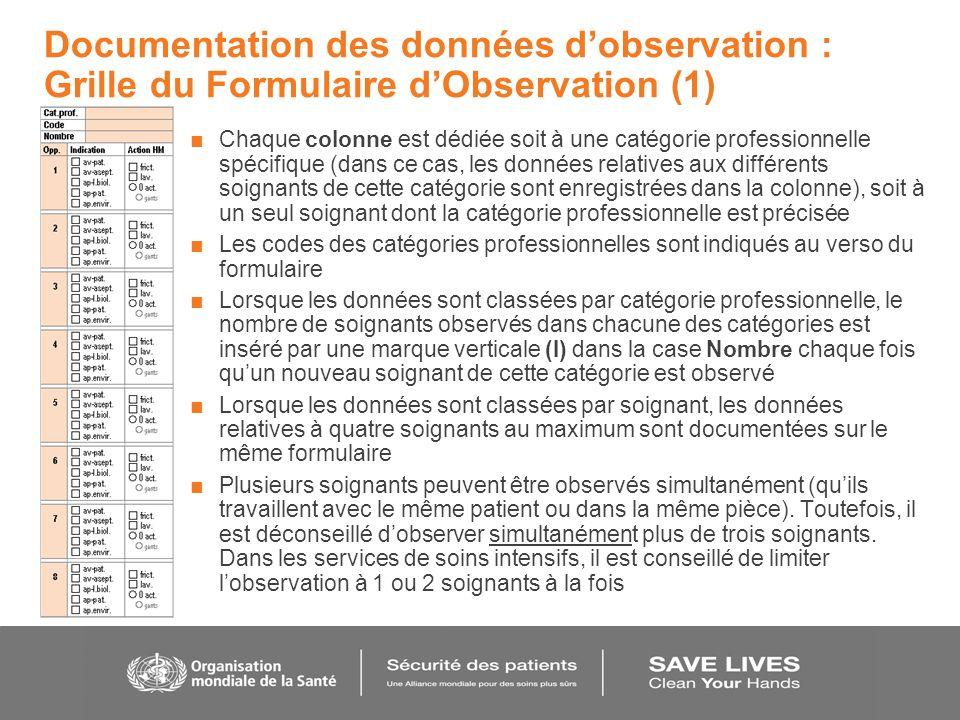 Documentation des données dobservation : Grille du Formulaire dObservation (1) Chaque colonne est dédiée soit à une catégorie professionnelle spécifiq