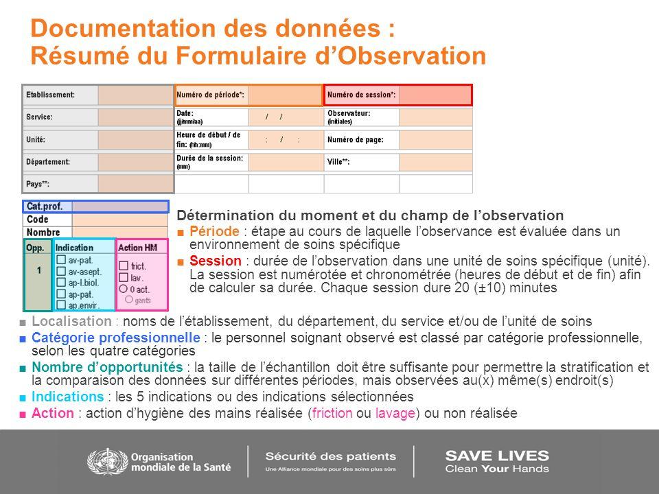 Documentation des données : Résumé du Formulaire dObservation Détermination du moment et du champ de lobservation Période : étape au cours de laquelle