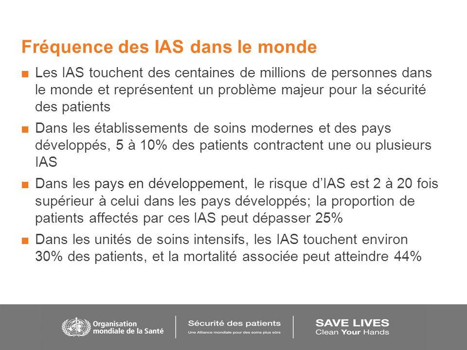 Fréquence des IAS dans le monde Les IAS touchent des centaines de millions de personnes dans le monde et représentent un problème majeur pour la sécur