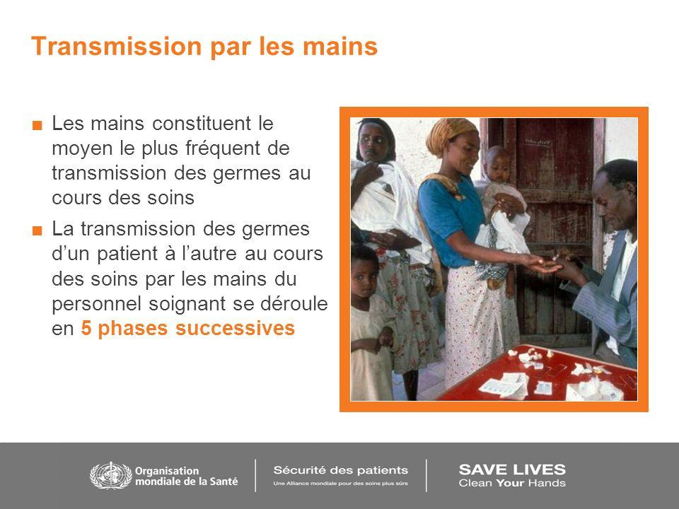 Transmission par les mains Les mains constituent le moyen le plus fréquent de transmission des germes au cours des soins La transmission des germes du
