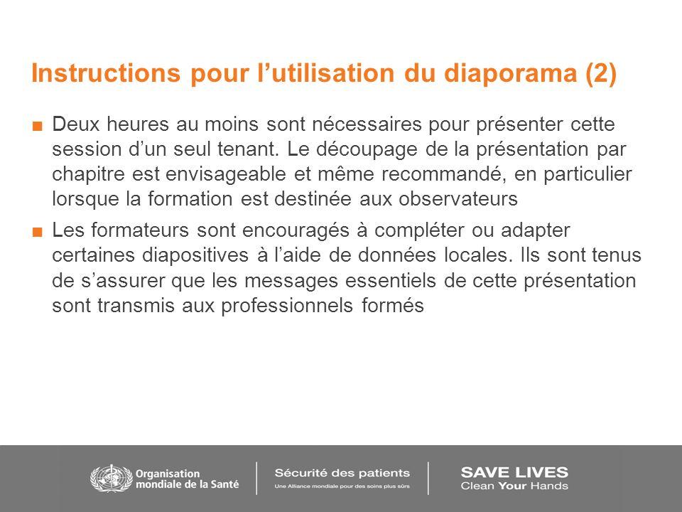 Instructions pour lutilisation du diaporama (2) Deux heures au moins sont nécessaires pour présenter cette session dun seul tenant. Le découpage de la