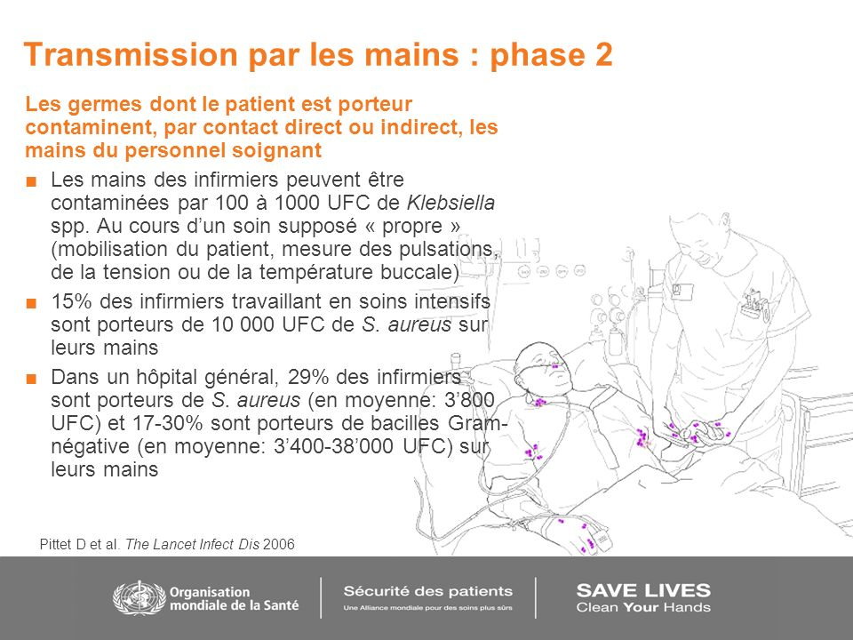 Transmission par les mains : phase 2 Les germes dont le patient est porteur contaminent, par contact direct ou indirect, les mains du personnel soigna