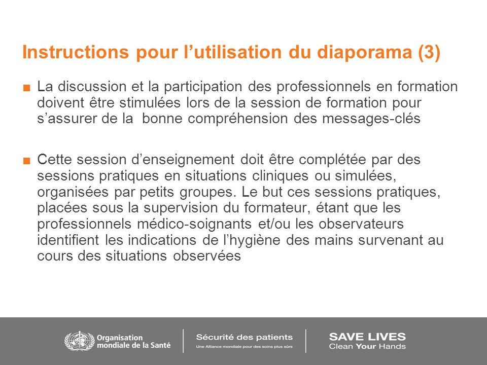 Instructions pour lutilisation du diaporama (3) La discussion et la participation des professionnels en formation doivent être stimulées lors de la se
