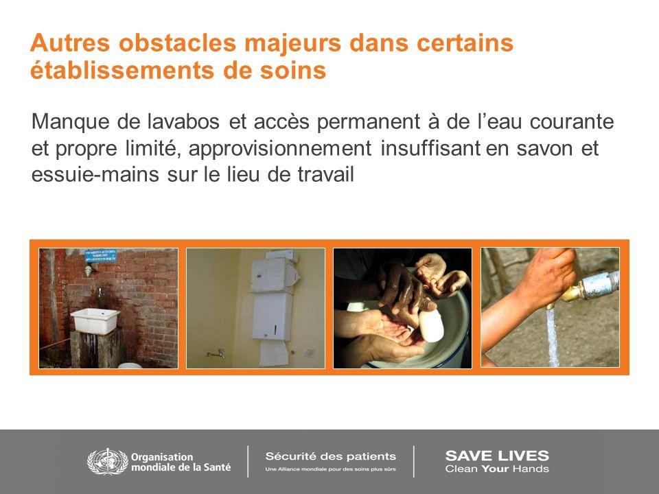 Autres obstacles majeurs dans certains établissements de soins Manque de lavabos et accès permanent à de leau courante et propre limité, approvisionne