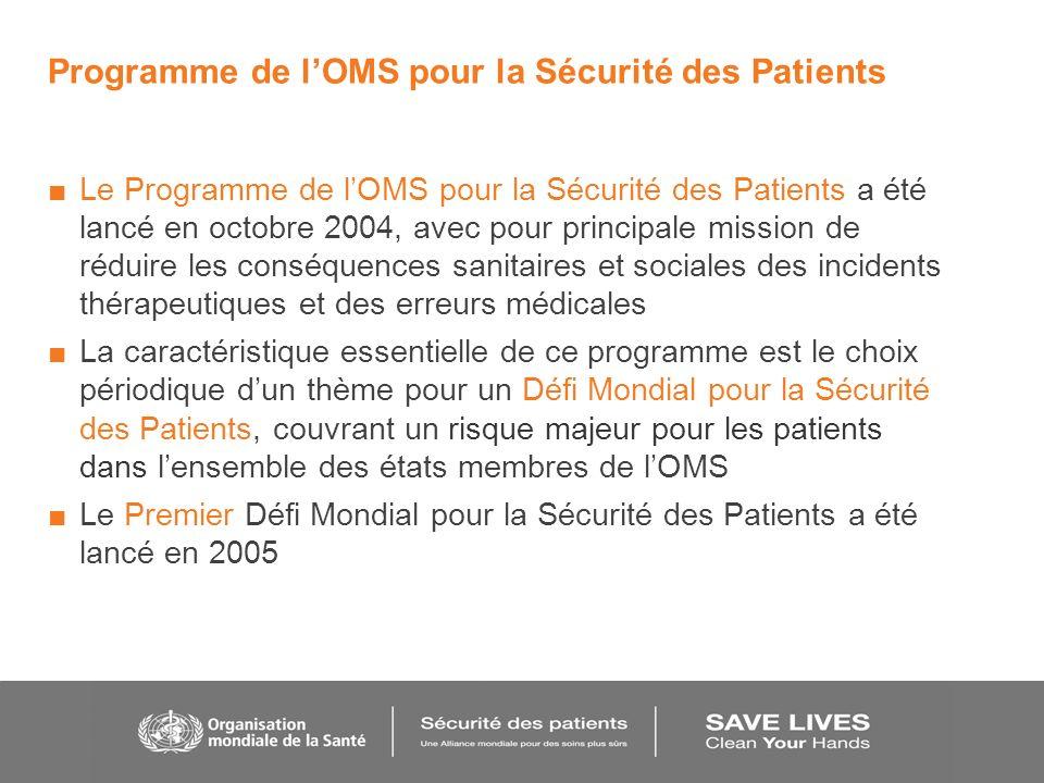 Programme de lOMS pour la Sécurité des Patients Le Programme de lOMS pour la Sécurité des Patients a été lancé en octobre 2004, avec pour principale m