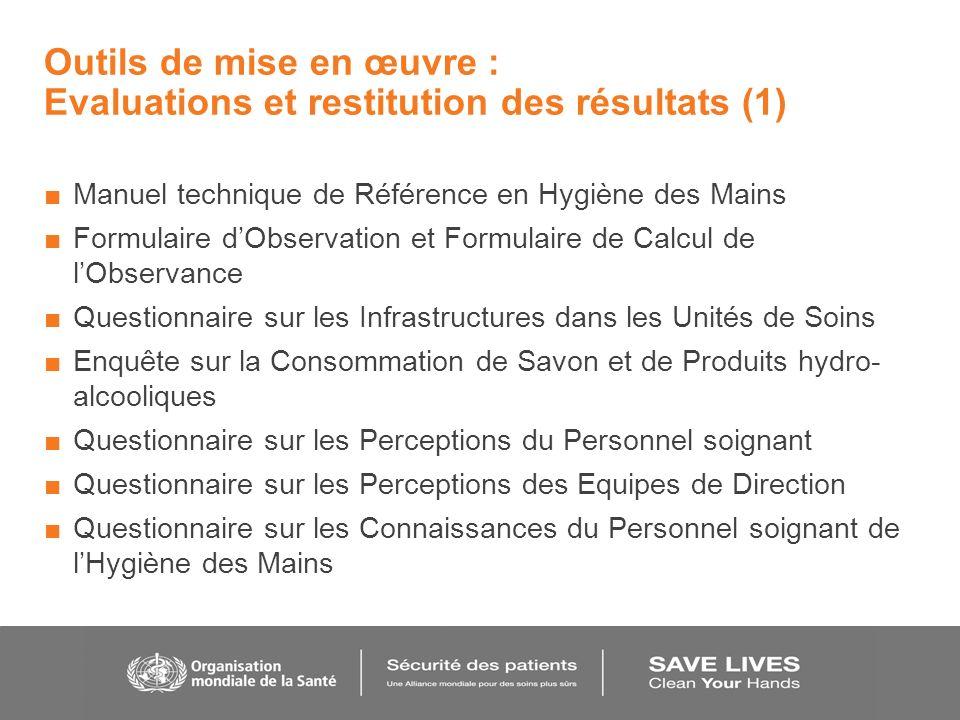 Outils de mise en œuvre : Evaluations et restitution des résultats (1) Manuel technique de Référence en Hygiène des Mains Formulaire dObservation et F