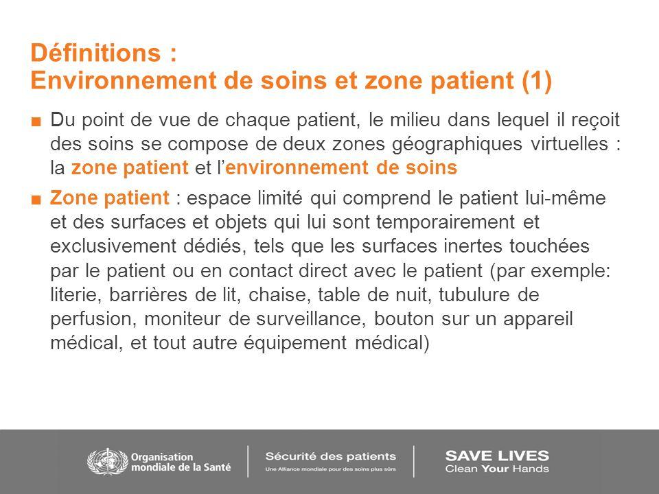 Définitions : Environnement de soins et zone patient (1) Du point de vue de chaque patient, le milieu dans lequel il reçoit des soins se compose de de
