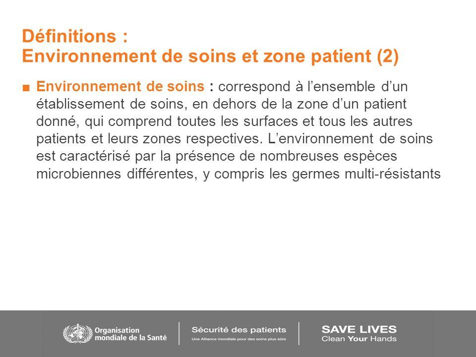Définitions : Environnement de soins et zone patient (2) Environnement de soins : correspond à lensemble dun établissement de soins, en dehors de la z