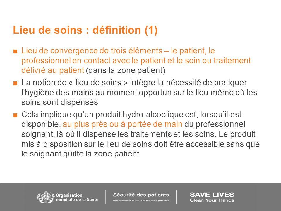 Lieu de soins : définition (1) Lieu de convergence de trois éléments – le patient, le professionnel en contact avec le patient et le soin ou traitemen