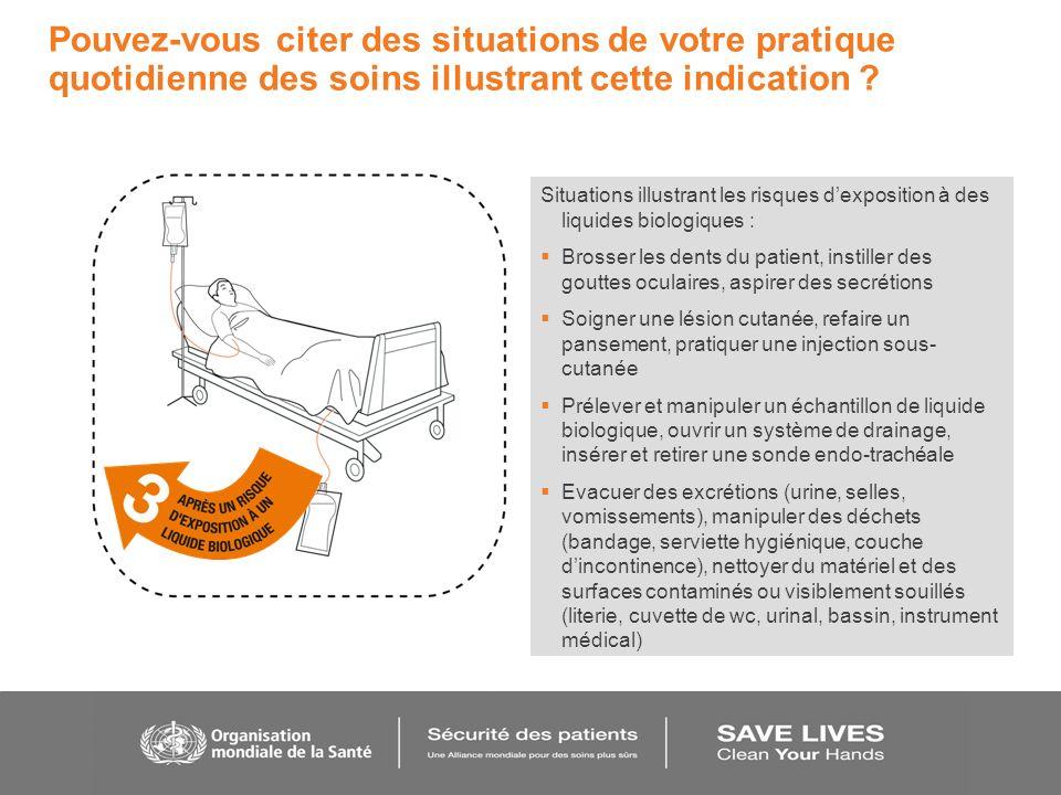 Situations illustrant les risques dexposition à des liquides biologiques : Brosser les dents du patient, instiller des gouttes oculaires, aspirer des