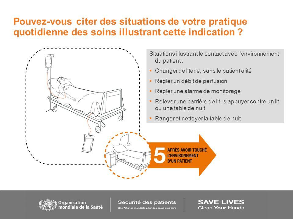 Situations illustrant le contact avec lenvironnement du patient : Changer de literie, sans le patient alité Régler un débit de perfusion Régler une al