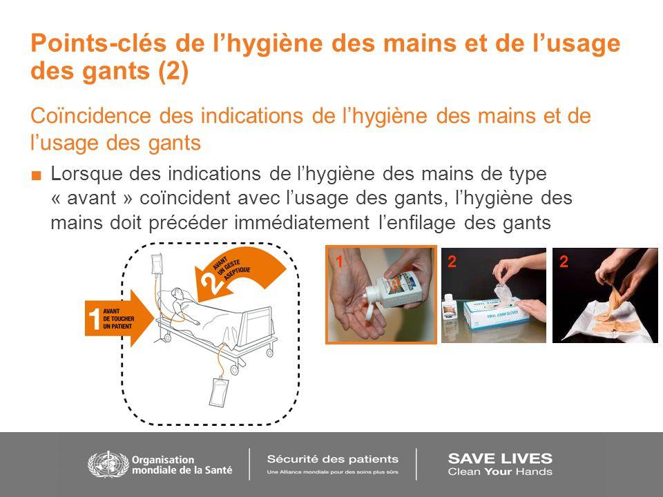 Points-clés de lhygiène des mains et de lusage des gants (2) Coïncidence des indications de lhygiène des mains et de lusage des gants Lorsque des indi